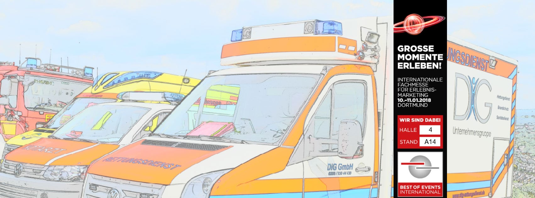 Sanitätsdienst für Betriebssanitäter, Brandsicherheitswache, Ausbildung zum Brandschutzhelfer (Branschutzhelfer Kurs), Sanitätscontainer : DiG GmbH Ulrichstr. 8, 45891 Gelsenkirchen 46