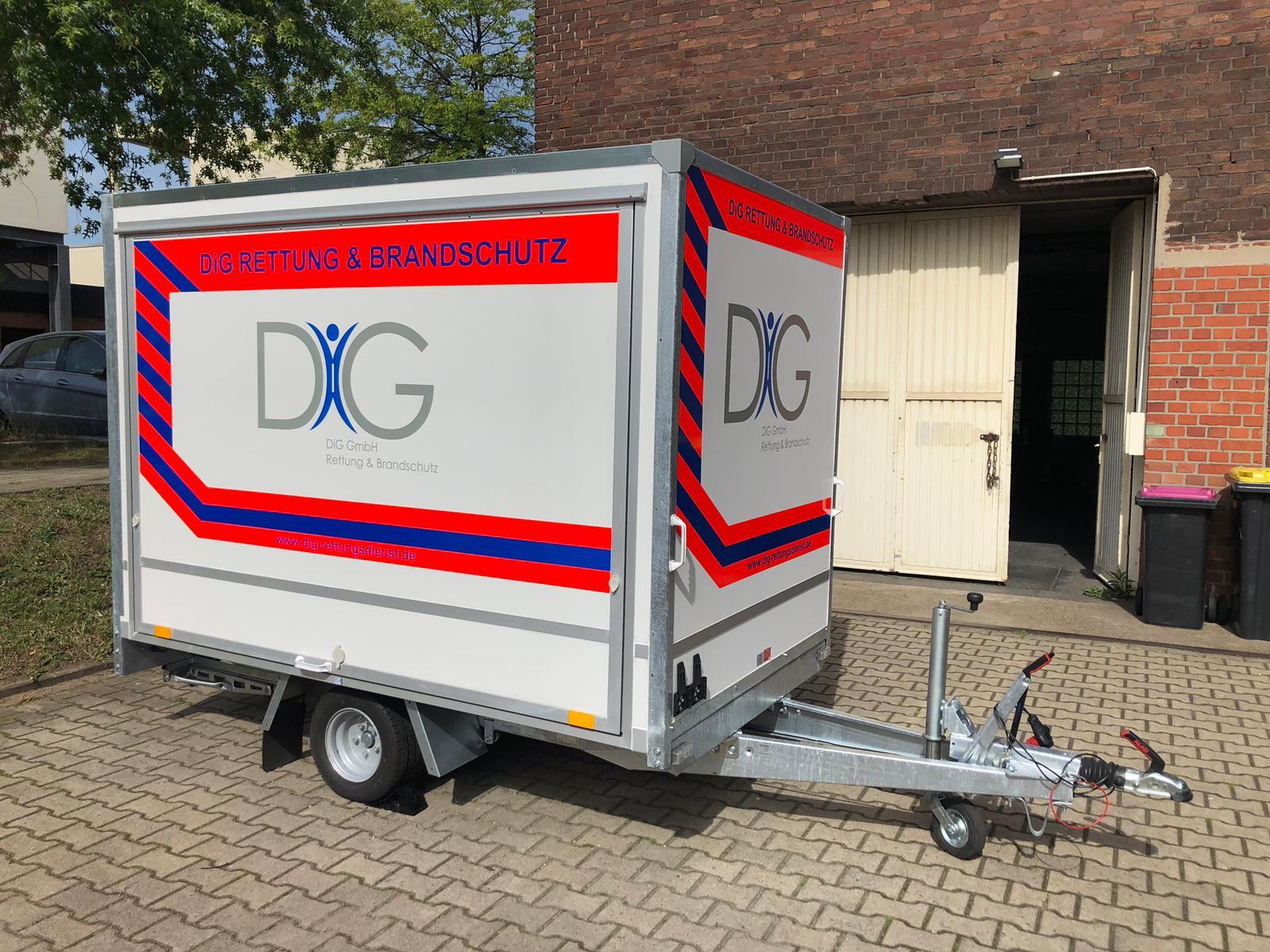 DiG GmbH – Rettung & Brandschutz, Hochkampstr. 68 c, 45881 Gelsenkirchen, Tel: 0209 930 446 30, Fax: 0209 930 446 39, info@dig-gruppe.de, Geräteanhänger Sanitätsdienst mit BHP25